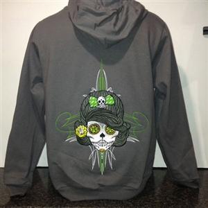 Pin Up Sugar Skull Ladies Full-Zip Hooded Fleece