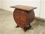 HANDMADE WOODEN SIDE TABLE WITH 3 DRAWERS