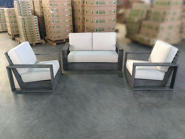 teak deep seating sofa (1) + deep seating chairs (2) set