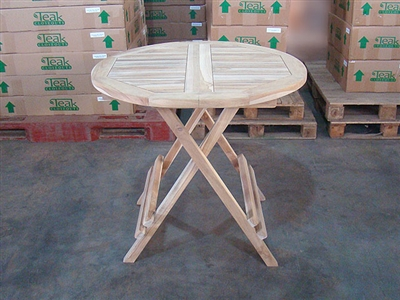 Folding Round Teak Bistro Table 80cm/32""