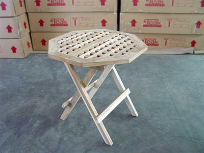 teak side table lattice octagon