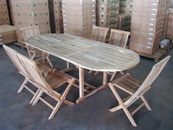 Dina Teak Table Set w/ Shelia Folding Chairs
