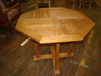 teak hexagon table