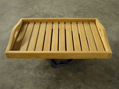 Teak Serving Tray with Curved Handle