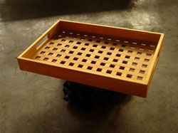Teak Serving Tray with Lattice Deck
