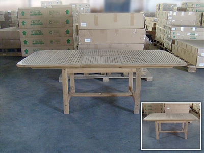 Barito Rectangle Extension Teak Table 170 x 100cm - Extendable To 220cm
