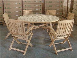 Padang Teak Round Table w/ 6 Boma Folding Arm Chairs