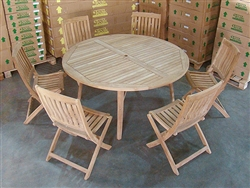 Padang Teak Round Table w/ 6 Boma Folding Chairs