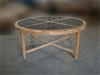 "Banjar Rattan Round Teak Table 180cm - 71"" w/ Glass"