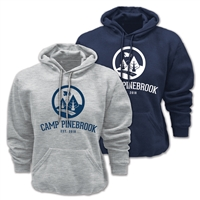60/40 cotton/poly heavyweight sweatshirt. Printed with Camp Pinebrook logo.