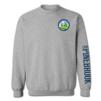 Classic Crew Sweatshirt made of 8 oz. blend of poly/cotton jersey. Printed with Camp Pinebrook logo left chest and Camp Pinebrook wordmark on left sleeve.