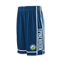 100% polyester wicking knit shorts. Printed with Camp Pinebrook logo.