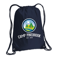 210-denier polyester cinch backpack. Printed with Camp Pinebrook logo.