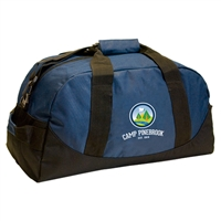 600-denier polyester duffel bag. Printed with Camp Pinebrook logo.
