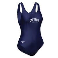 Ladies swimsuit. Printed with Camp Pinebrook wordmark.