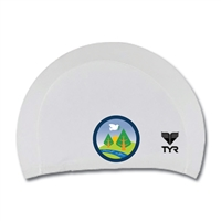Lycra swim cap. Printed with Camp Pinebrook logo.