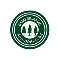 <!007>FRIENDLY PINES CAMP - LOGO CIRCLE PRESS-ON LABELS