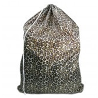 Leopard printed laundry bag.