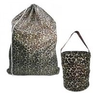 Leopard printed laundry bag and bath caddy.