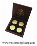 White House Coins in Wood Case