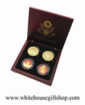 White House & Capitol Coins in Wood Case
