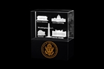 "The White House and National Memorials Glass Statue, Display or Paperweight, Optical Glass Holograms, Solid Black Base, 4 3/4"" x 2"" W, Elegant Two Piece Gift Box With Tissue, White House Gift Shop® official seal and certificate of authenticity."