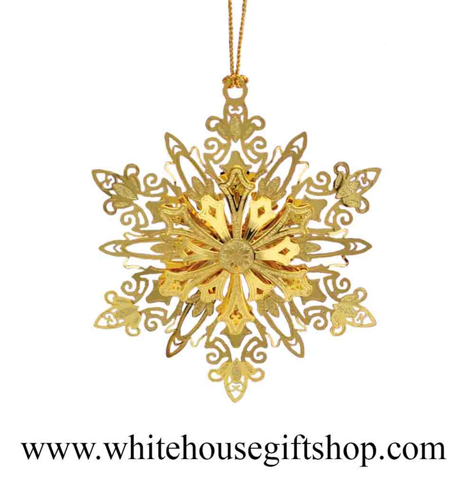 Snowflakes ornaments - Sparkling Snowflake Ornament 3 D 24kt Gold Plated White House Gift Shop Gold Seal Gift Presentation Box Made In Usa