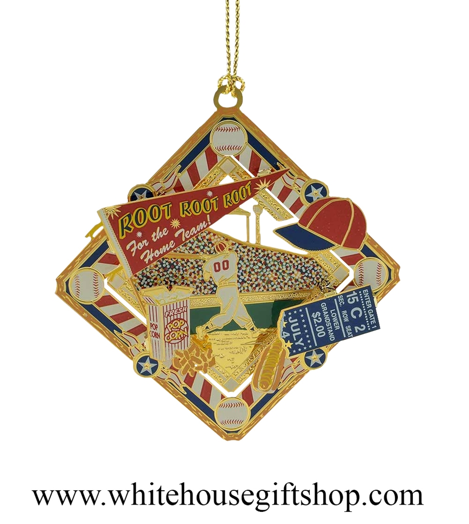Americana christmas ornaments - Old Time Baseball Collage Ornament 3 D 24kt Gold Plated Americana White House Gift Shop Made In Usa