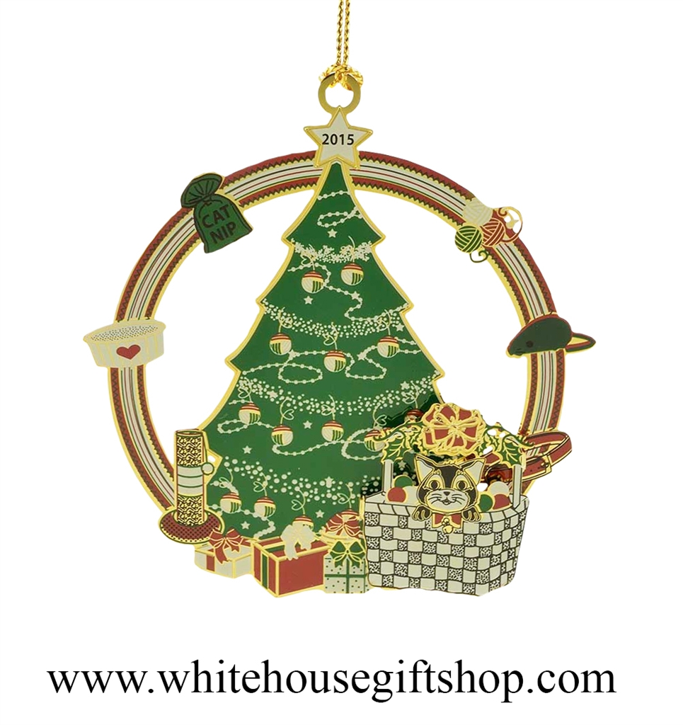 2015 Kittens First Christmas Ornament 3D 24KT Gold Plated