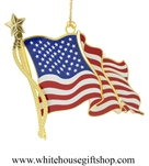 American Flag 3D White House Ornament