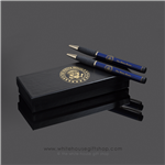 The White House Seal Two Pen Set, Cobalt Blue, 22-Karat Gold Trim, Comfort Grip, Laser Etched, Presentation & Gift Boxed. Designed by Artist Anthony Giannini.