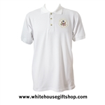 Air Force One Polo  Shirt, 100% Made in USA, White Cotton Pique