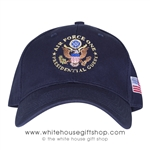 Air Force One Presidential Guest Hat. Cap, Made in the USA, American Flag on side, Embroidered, Navy Blue, USAF, Great Seal of the United States