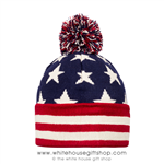 U.S. Flag Beanie Hat, Knit, Red White & Blue Pom, From the Official White House Gift Shop® Est. 1946