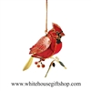 Cardinal Bird Ornament - Year Round Display, Summer Sale, 24KT Gold Plated, White House Gift Shop, Made in USA!