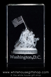 IWO JIMA Memorial Model in Crystal Optical Glass from the White House Gift Shop