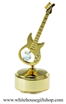 Gold Electric Guitar Music Box with Swarovski Crystals