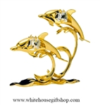 Gold Dolphin Duo with Waves Table Top Display with Swarovski Crystals