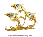 Gold Dolphin Trio with Waves Table Top Display with Swarovski Crystals
