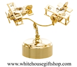 Gold Aeroplane Duo Music Box with Swarovski® Crystals