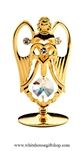 Gold Angel Holding A Heart Table Top Display with Swarovski Crystals