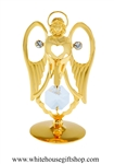 Gold Angel in Prayer Table Top Display with Swarovski® Crystals
