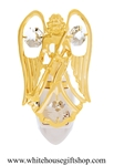 Gold Angel Holding a Trumpet Nightlight with Swarovski® Crystals