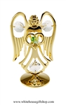 Gold Guardian Angel Birthstone Collection: August with Peridot Lime Green Colored & Clear Swarovski® Crystals
