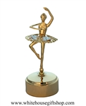 Gold Ballet Dance Attitude Music Box with Swarovski® Crystals