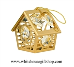 Gold Bird House Ornament with Swarovski® Crystals