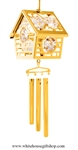 Crystal Gold Bird House chime Ornament with Swarovski® Crystals