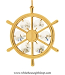 Gold Boating Wheel Ornament with Swarovski® Crystals