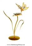 Gold Butterfly on a Jeweled Flower Table Top Display with Swarovski Crystals