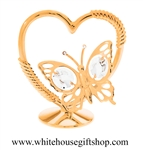 Gold Mini Butterfly Heart Table Top Display with Swarovski® Crystals